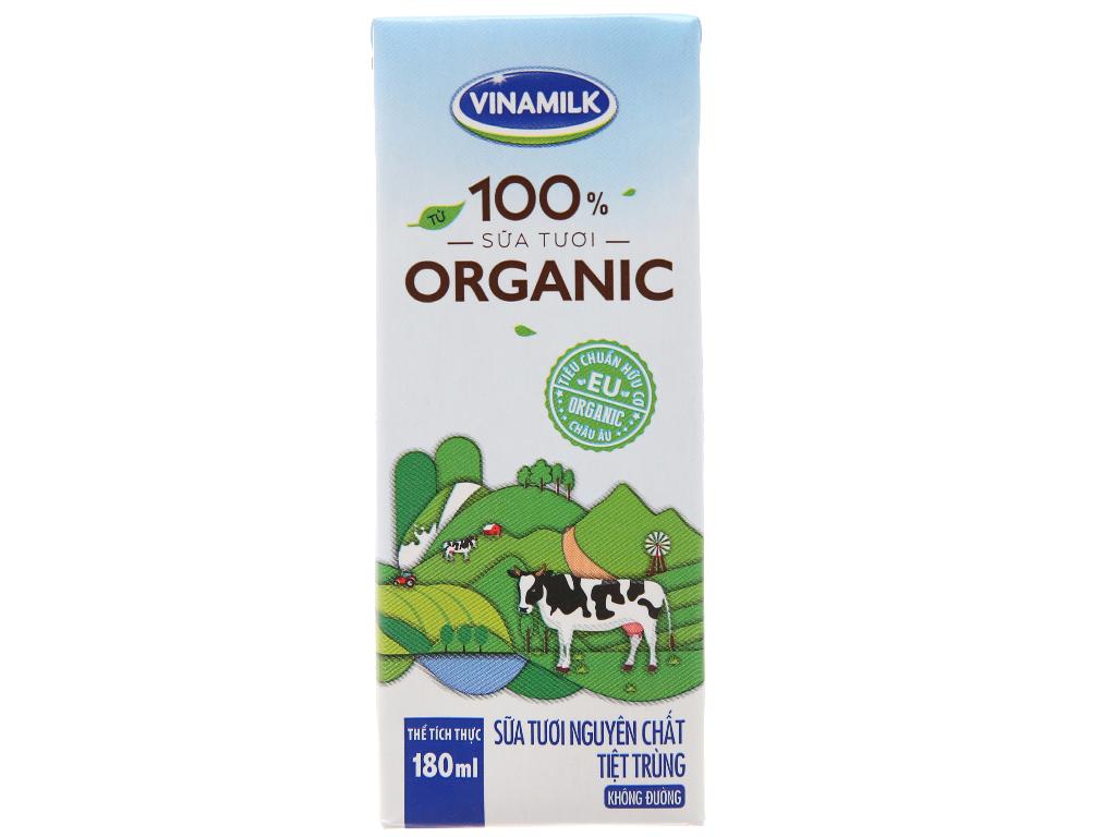 Lốc 4 hộp sữa tươi nguyên chất không đường Vinamilk 100% Organic 180ml 3