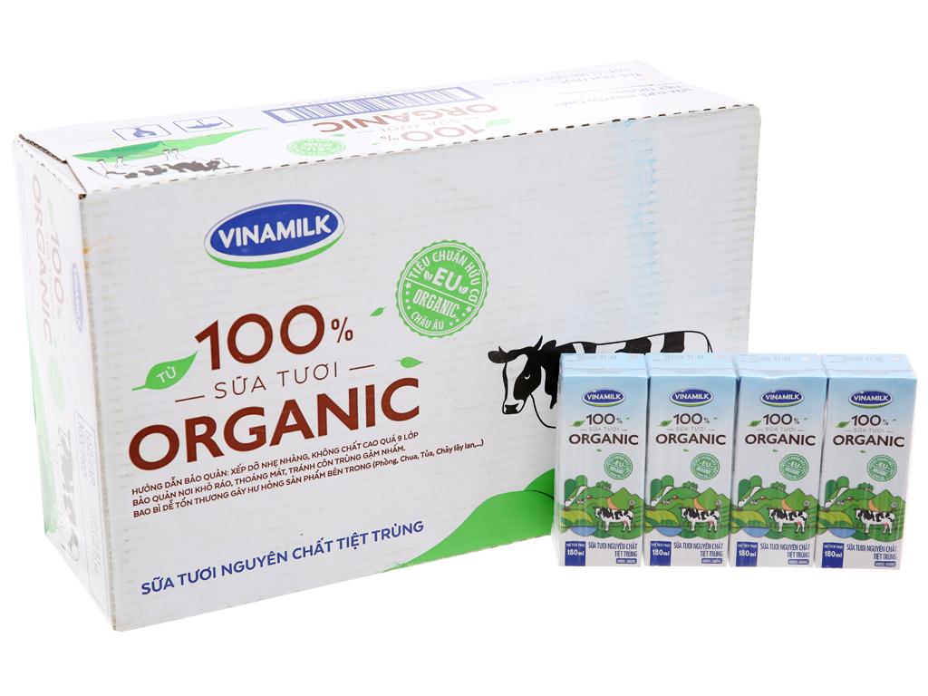 Thùng 48 hộp sữa tươi Vinamilk 100% Organic nguyên chất 180ml 2