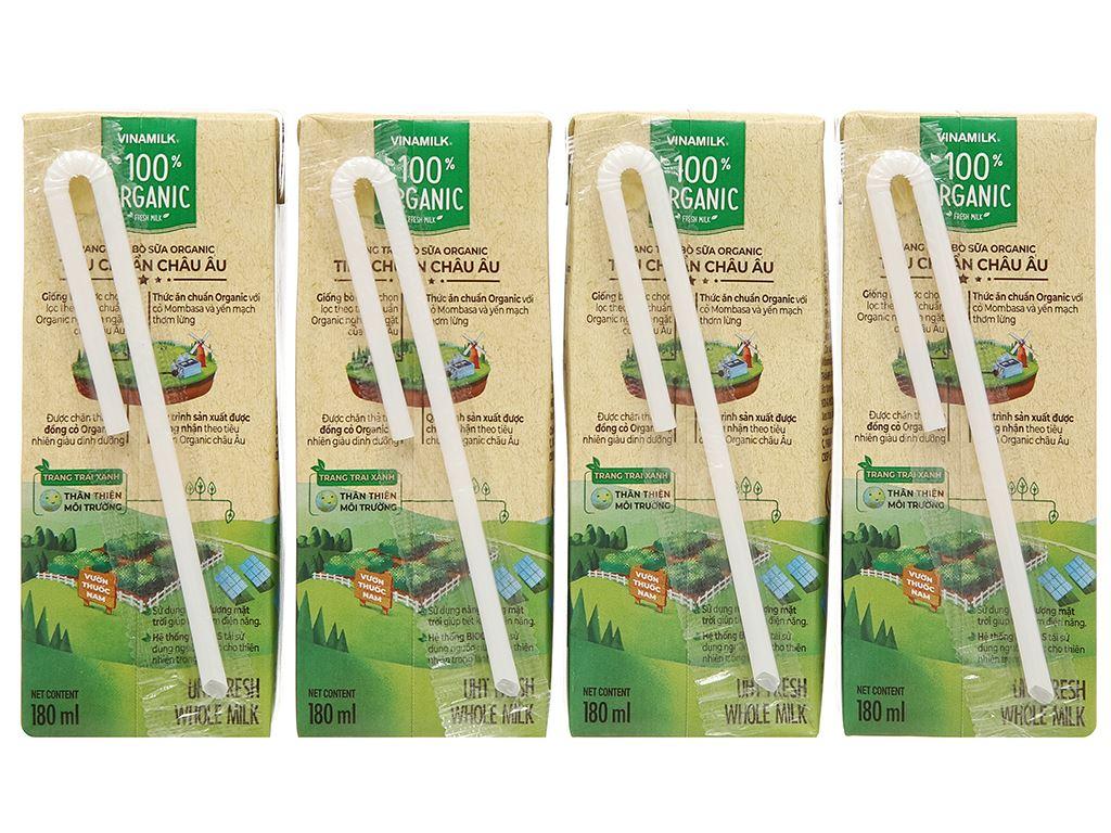Thùng 48 hộp sữa tươi nguyên chất không đường Vinamilk 100% Organic 180ml 10