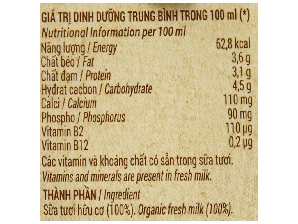 Thùng 48 hộp sữa tươi nguyên chất không đường Vinamilk 100% Organic 180ml 15