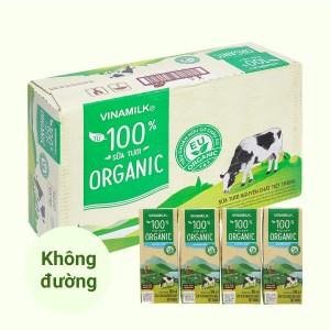 Thùng 48 hộp sữa tươi nguyên chất không đường Vinamilk 100% Organic 180ml