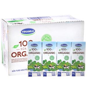 Thùng 48 hộp sữa tươi Vinamilk 100% Organic nguyên chất 180ml