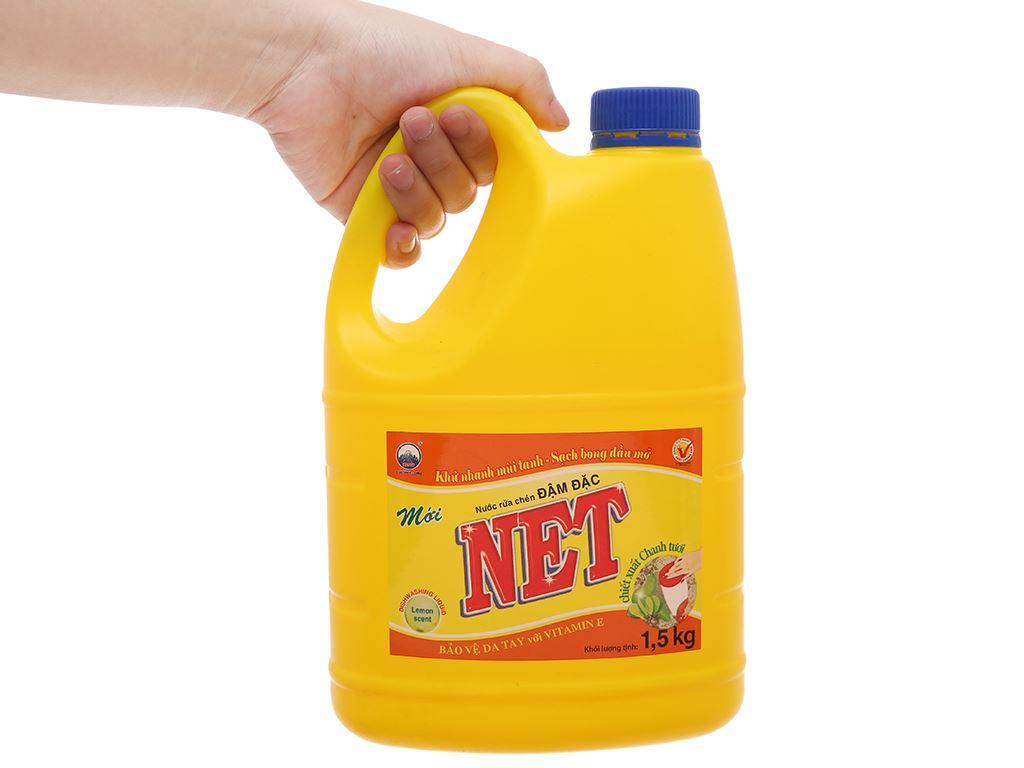 Nước rửa chén NET đậm đặc chiết xuất chanh tươi can 1.5kg 4