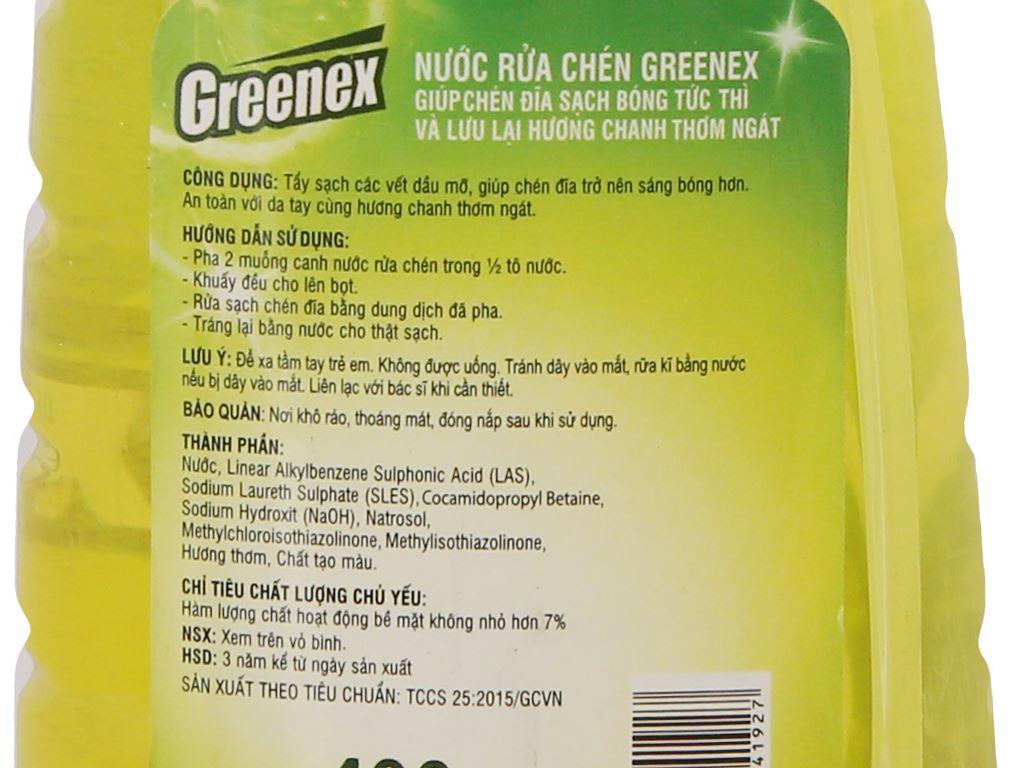 Nước rửa chén Greenex hương chanh chai 400g 4