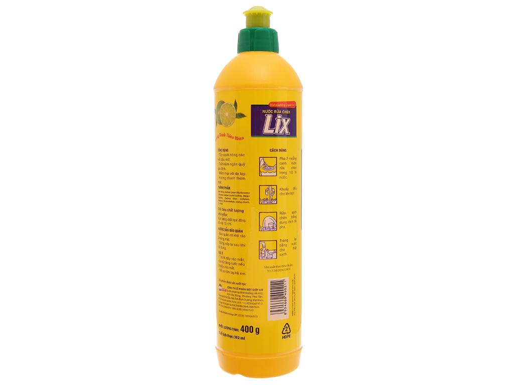 Nước rửa chén Lix Vitamin E hương chanh chai 392ml 3