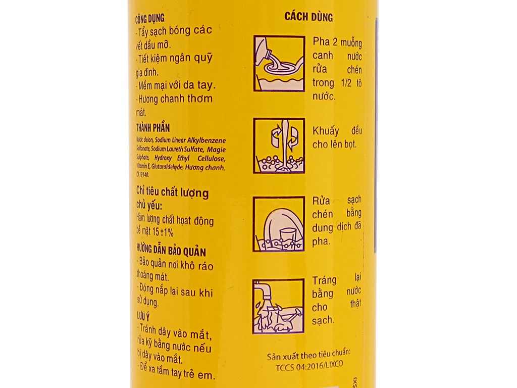 Nước rửa chén Lix Vitamin E hương chanh chai 400g 5