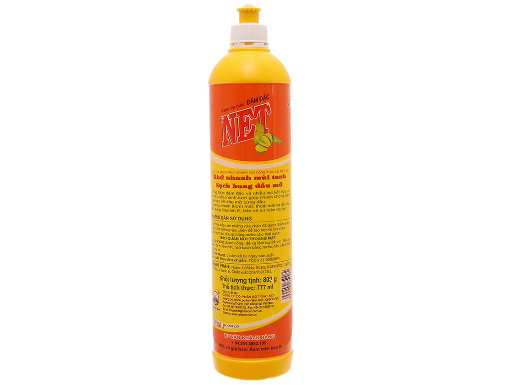 Nước rửa chén NET đậm đặc chiết xuất chanh tươi chai 800ml 3
