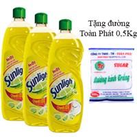 Combo 3 nước rửa chén Sunlight hương Chanh chai 750g
