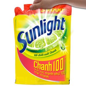 Nước rửa chén Sunlight Chanh 100 chiết xuất chanh tươi túi 2.6kg