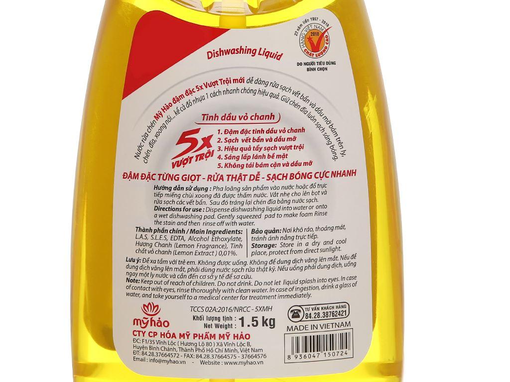 Nước rửa chén Mỹ Hảo 5X đậm đặc tinh dầu vỏ chanh 1.5kg 4