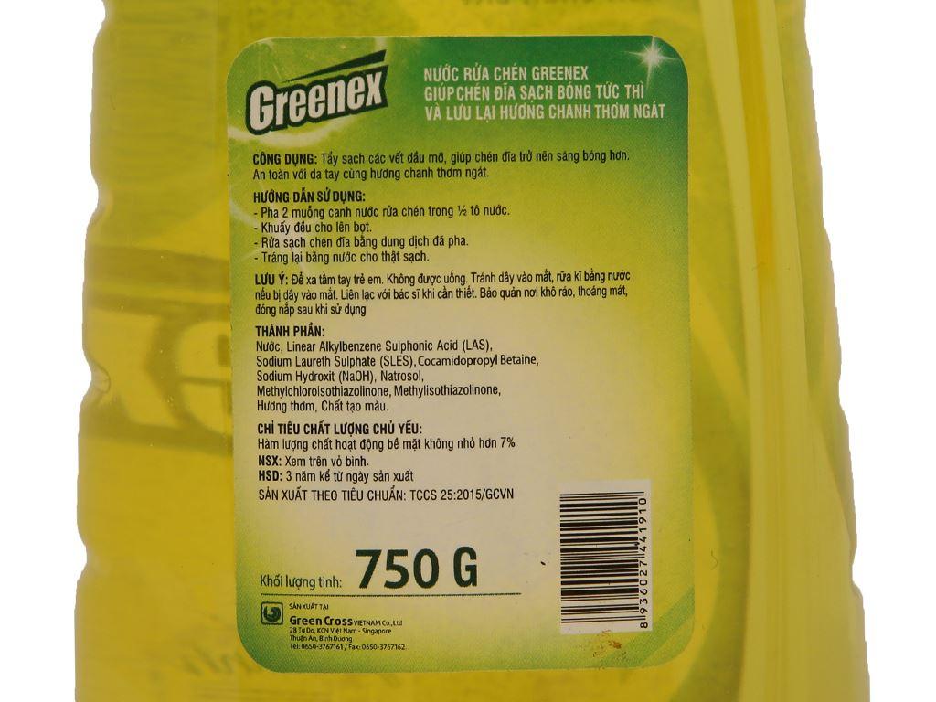 Nước rửa chén Greenex hương chanh chai 750g 4
