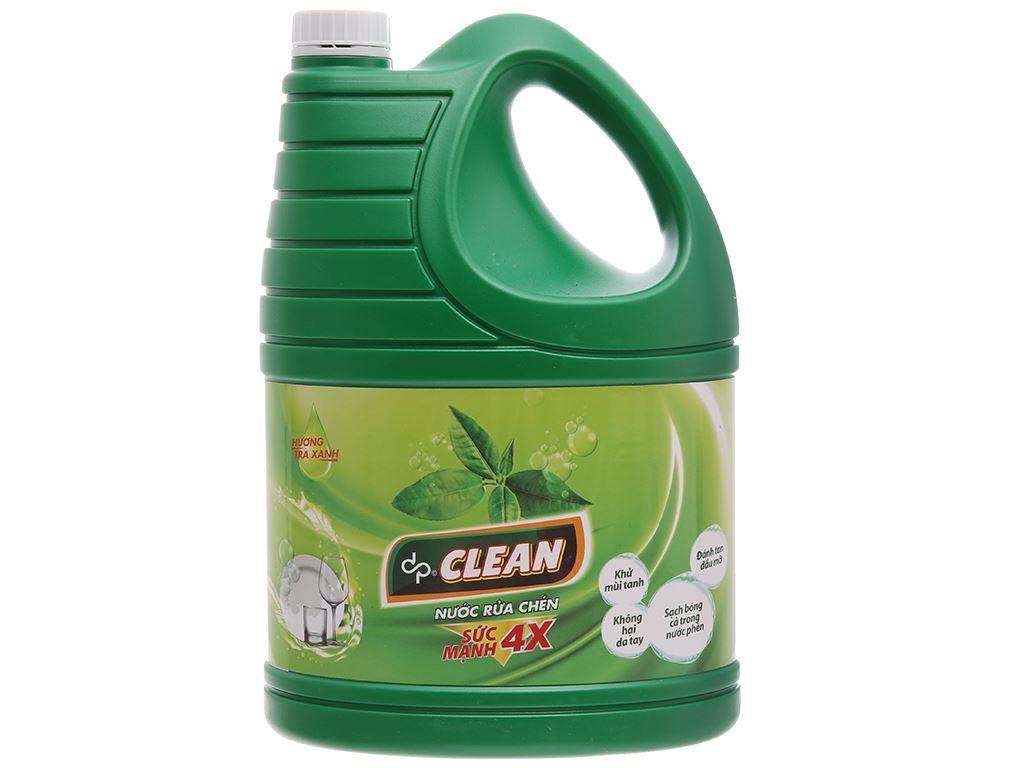 Nước rửa chén dp CLEAN Sức mạnh 4X hương trà xanh can 3.8L 2