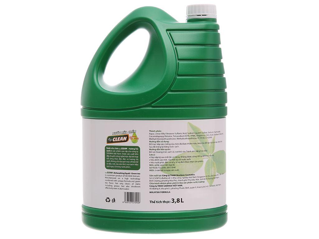 Nước rửa chén dp CLEAN Sức mạnh 4X hương trà xanh can 3.8L 3
