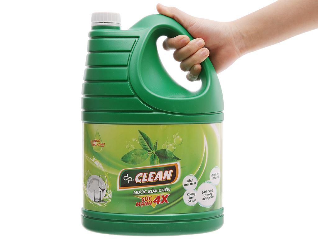 Nước rửa chén dp CLEAN Sức mạnh 4X hương trà xanh can 3.8L 4