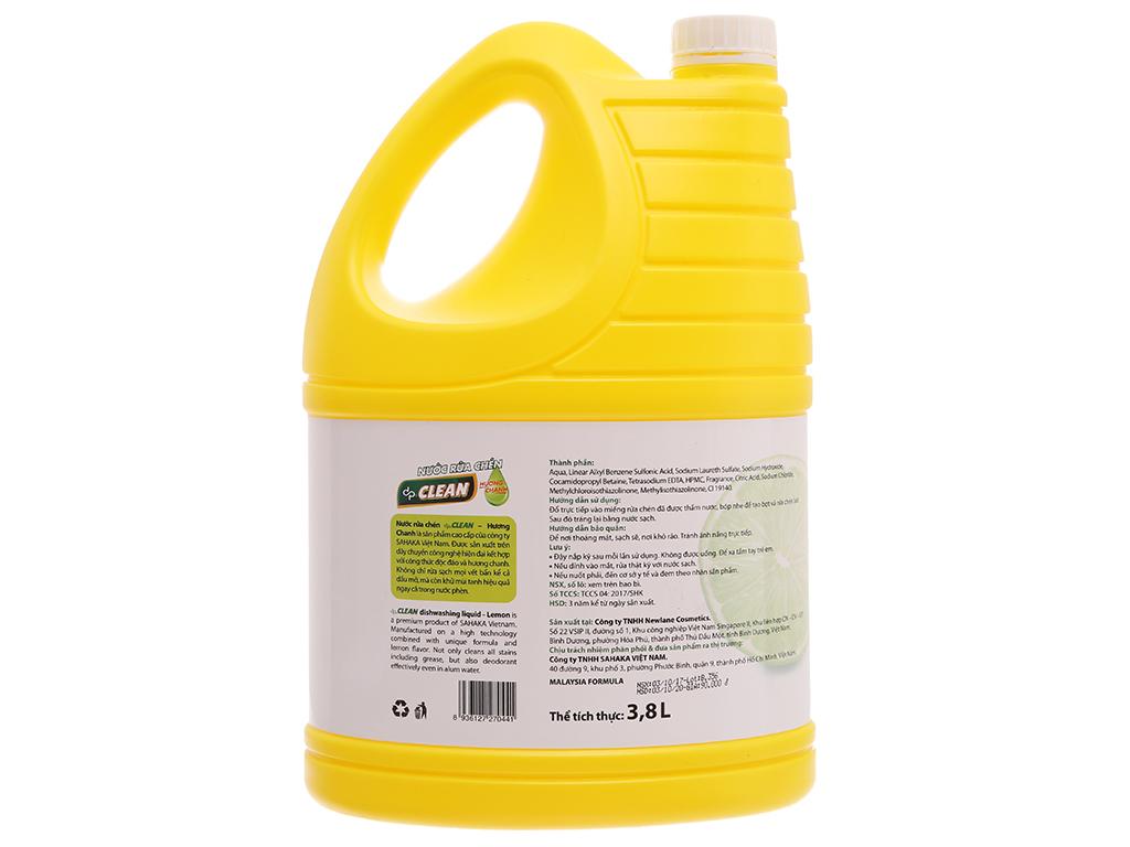 Nước rửa chén dp CLEAN Sức mạnh 4X hương chanh can 3.8L 3