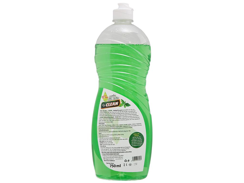 Nước rửa chén dp CLEAN Sức mạnh 4X hương trà xanh chai 750ml 3