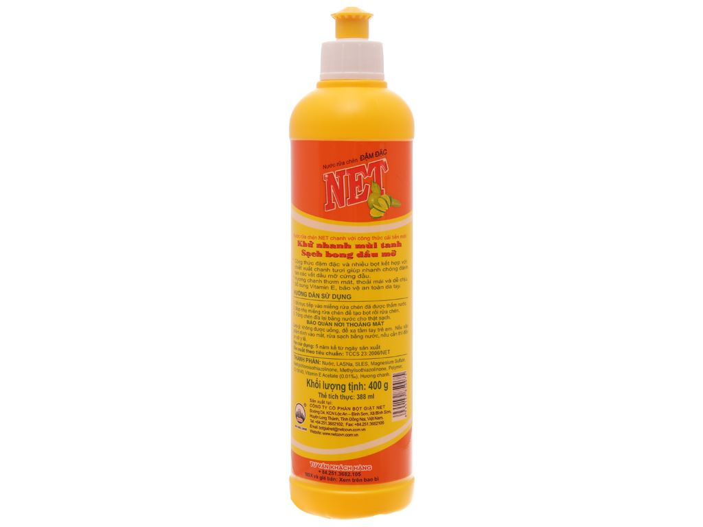 Nước rửa chén NET đậm đặc hương chanh chai 400g 2