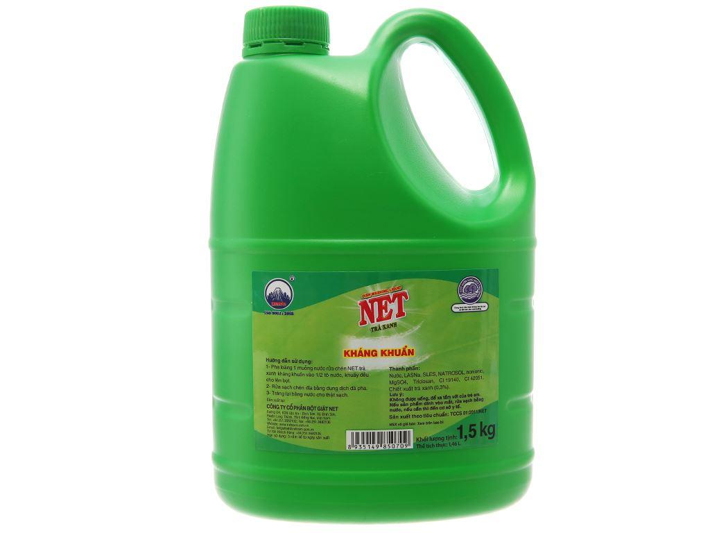 Nước rửa chén NET kháng khuẩn hương trà xanh can 1.5kg 2