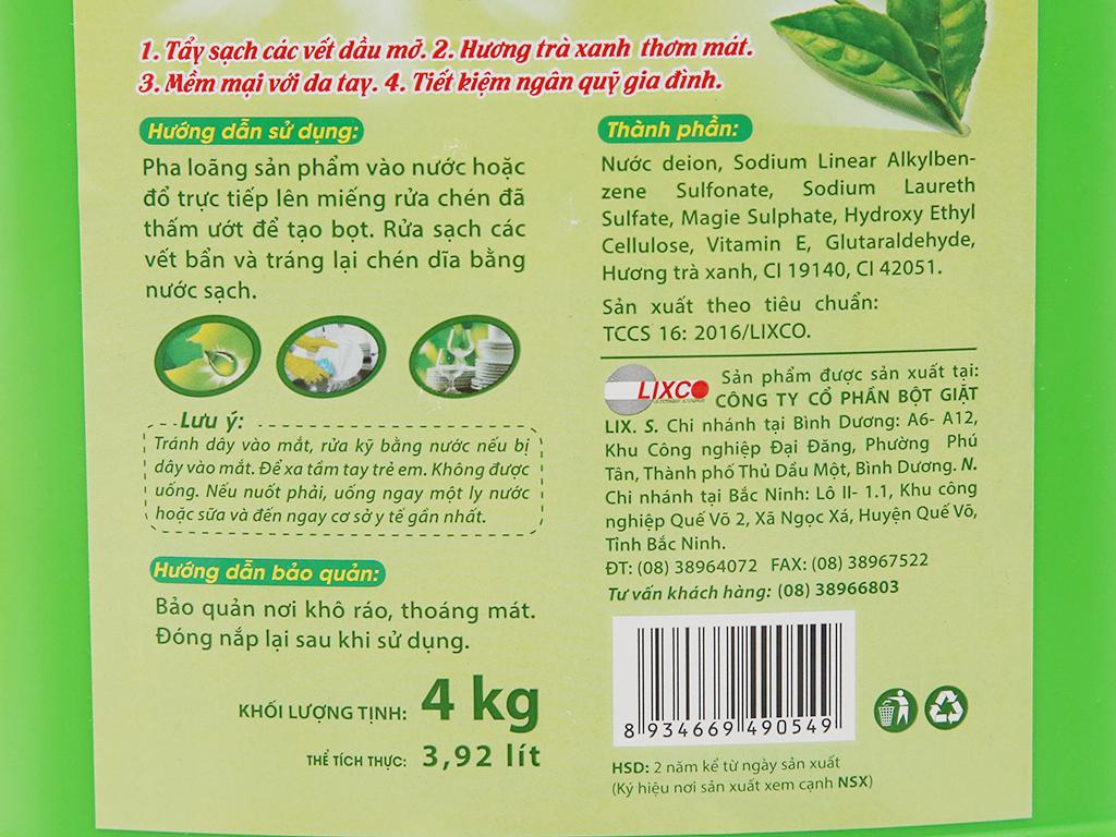 Nước rửa chén Lix siêu sạch hương trà xanh can 4kg 5