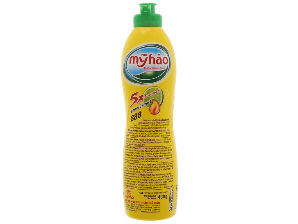 Nước rửa chén Mỹ Hảo 5X đậm đặc tinh dầu vỏ chanh chai 400g 2