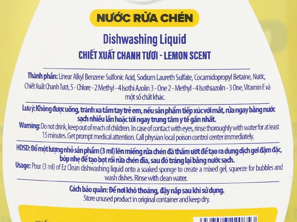 Nước rửa chén Ez Clean chiết xuất chanh tươi chai 800g 3