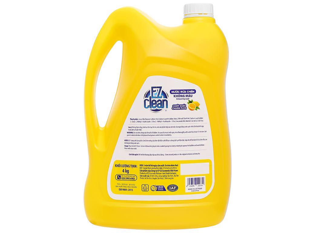 Nước rửa chén Ez Clean chiết xuất chanh tươi can 4kg 2