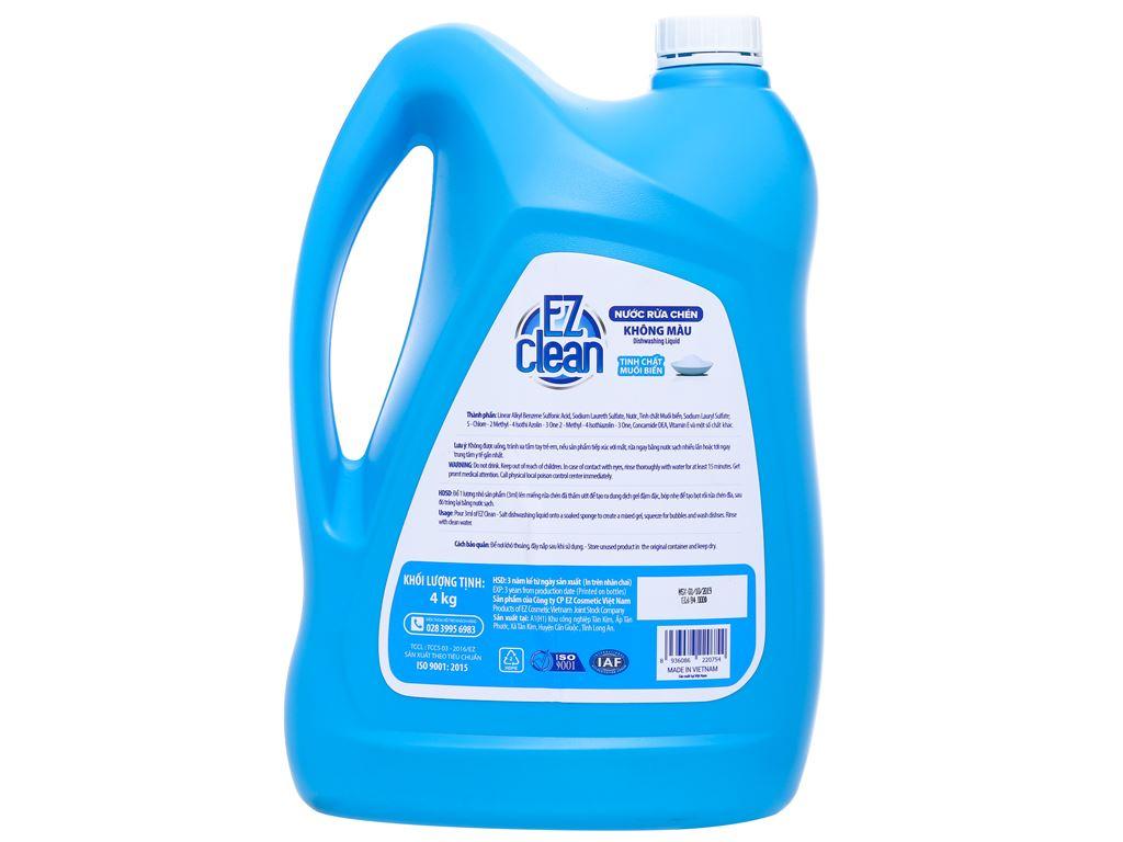 Nước rửa chén Ez Clean chiết xuất muối biển can 4kg 2
