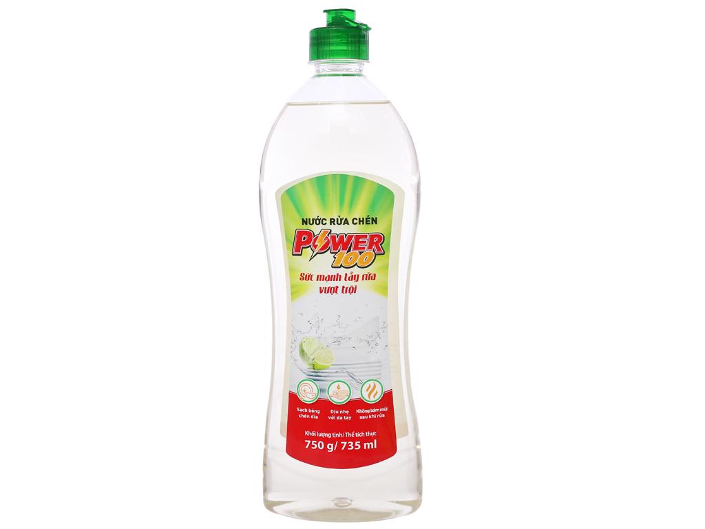 Nước rửa chén POWER100 hương chanh chai 735 ml 1