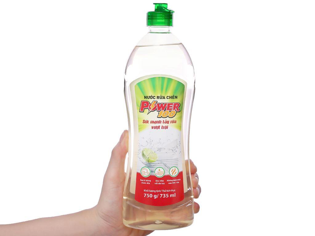 Nước rửa chén POWER100 hương chanh chai 735ml 3