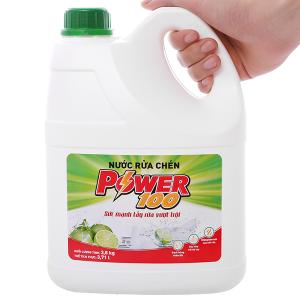 Nước rửa chén POWER100 hương chanh can 3.71 lít