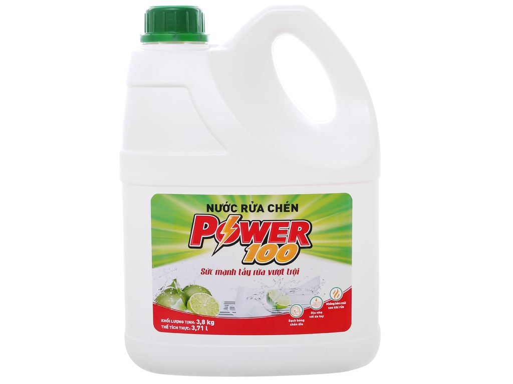 Nước rửa chén POWER100 hương chanh can 3.71 lít 1