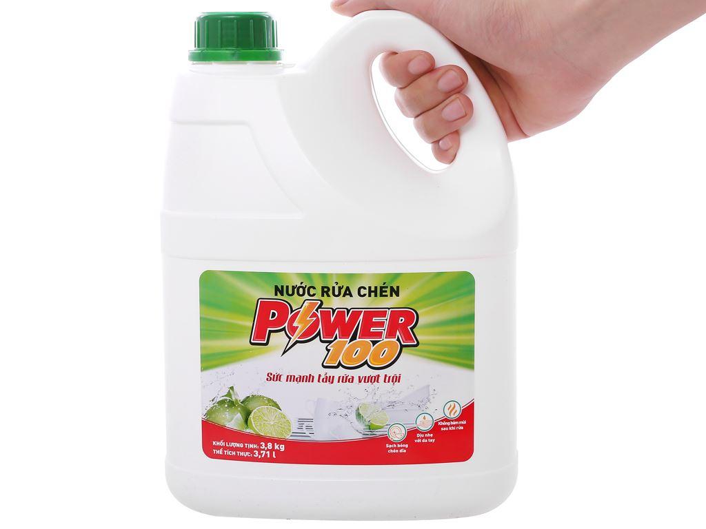 Nước rửa chén POWER100 hương chanh can 3.71 lít 3