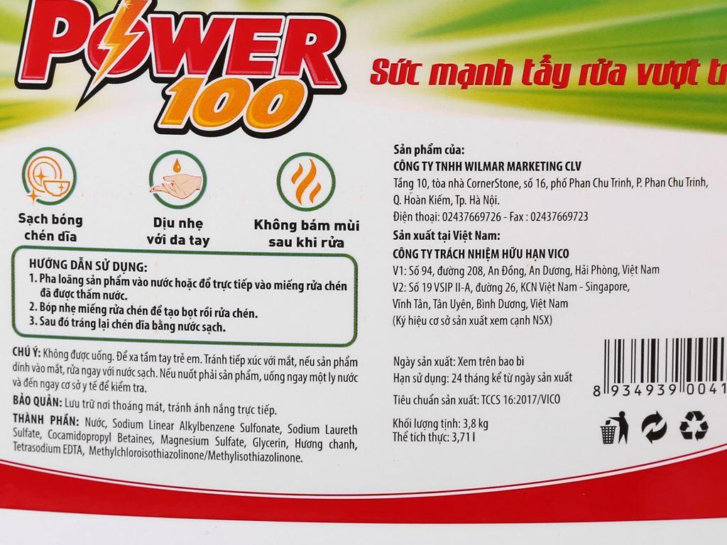 Nước rửa chén POWER100 hương chanh can 3.71 lít 4