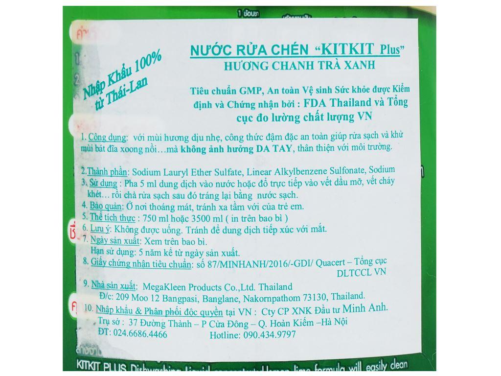 Nước rửa chén KitKit Plus hương trà xanh & chanh chai 750ml 4
