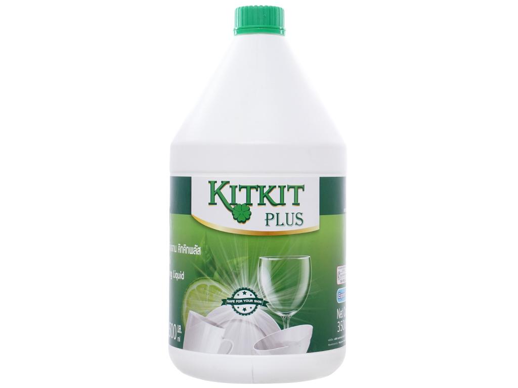 Nước rửa chén KitKit Plus hương trà xanh & chanh chai 3.5 lít 1