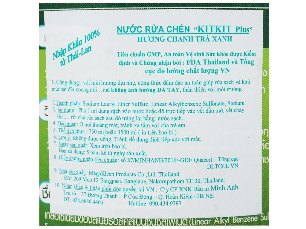 Nước rửa chén KitKit Plus hương trà xanh & chanh chai 3.5 lít 3