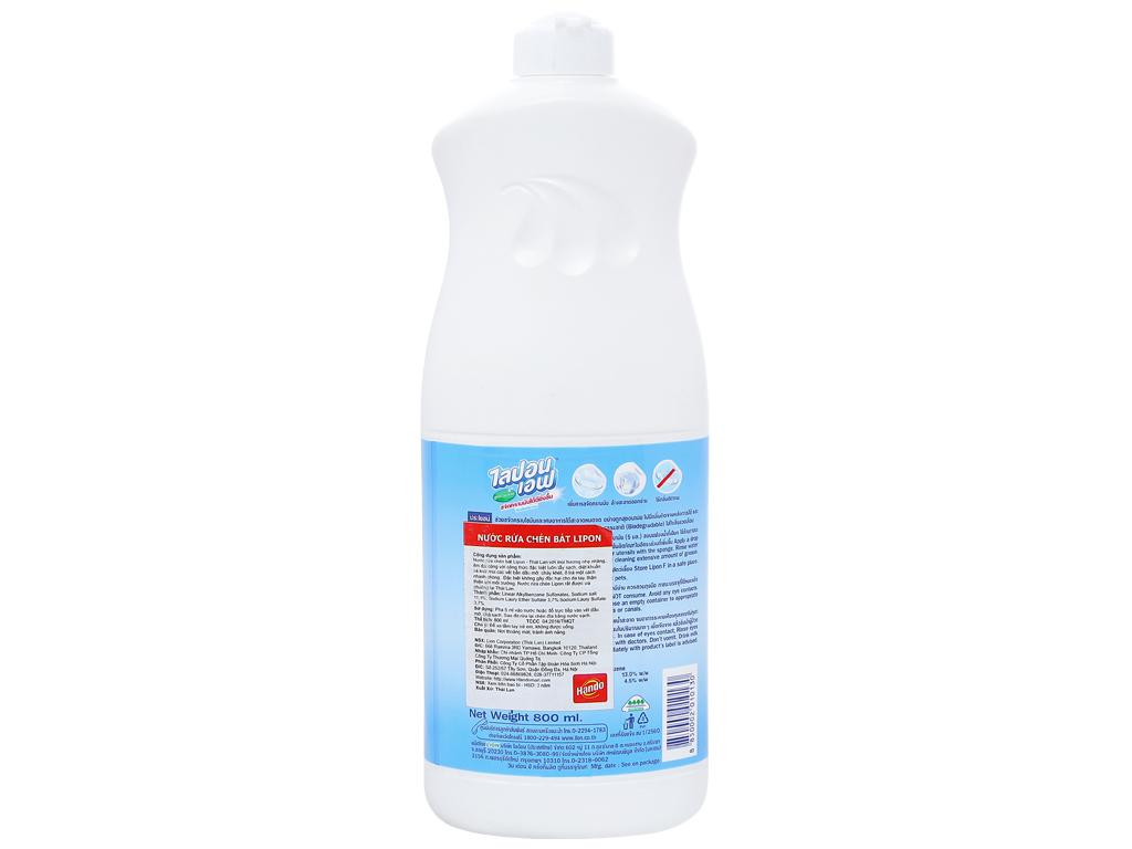 Nước rửa chén Lipon hương nhẹ nhàng chai 800ml 2