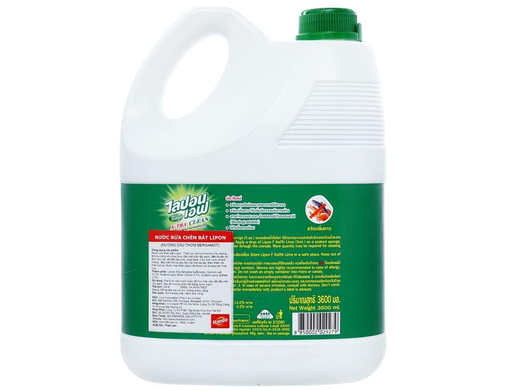 Nước rửa chén Lipon hương dầu thơm Bergamot can 3.6 lít 2