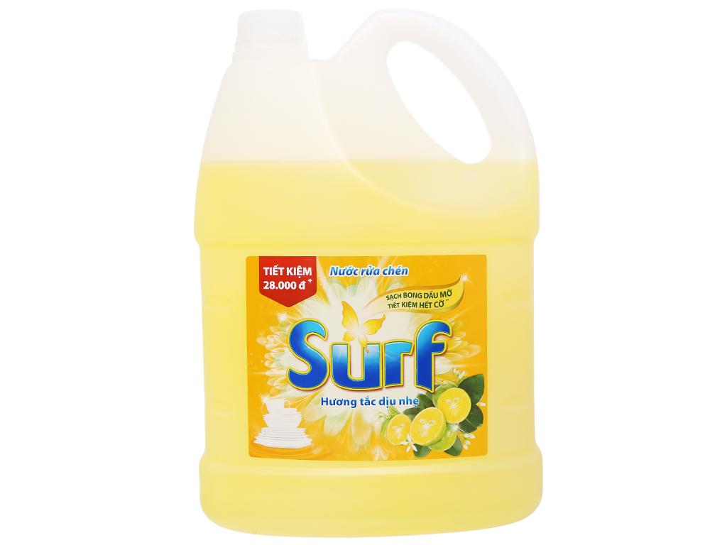 Nước rửa chén Surf hương tắc dịu nhẹ can 4kg 1