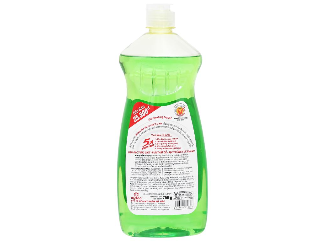Nước rửa chén Mỹ Hảo 5X đậm đặc tinh dầu vỏ bưởi chai 750g 2
