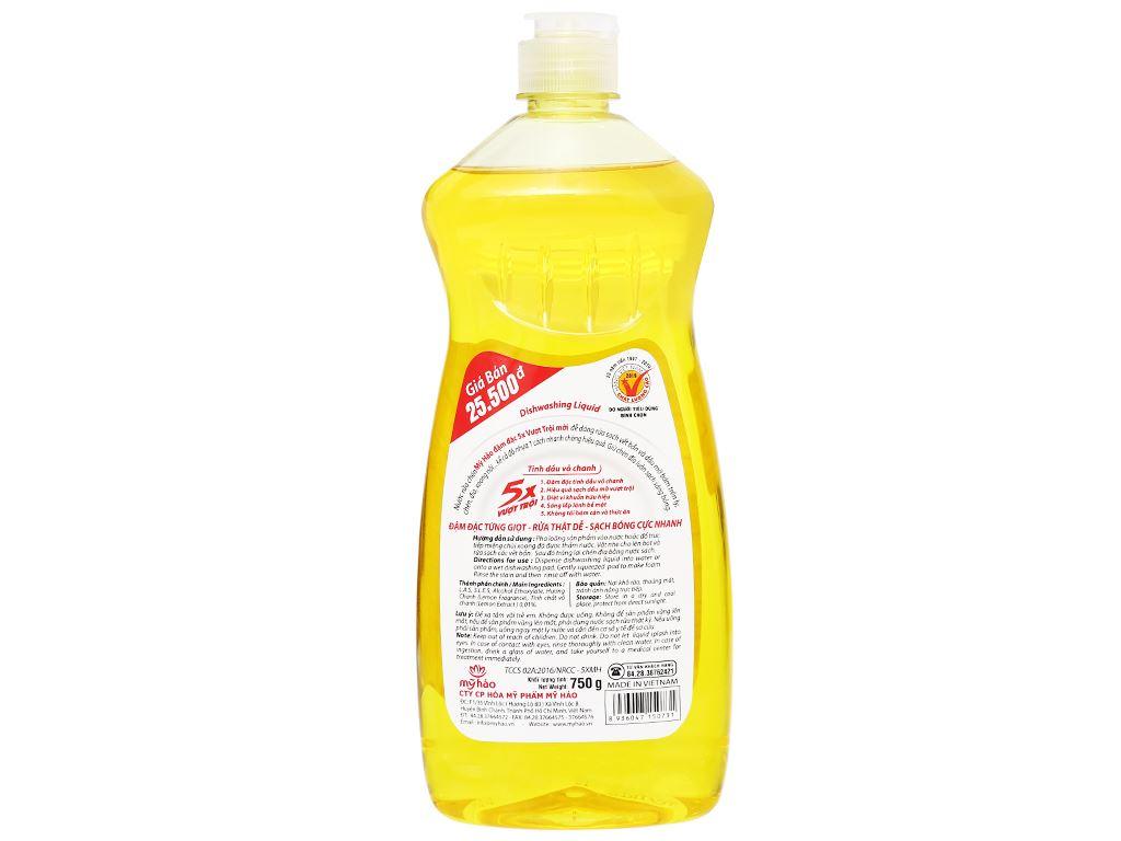 Nước rửa chén Mỹ Hảo 5X đậm đặc tinh dầu vỏ chanh chai 750g 2