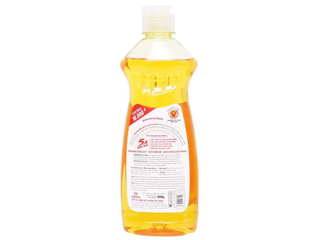 Nước rửa chén Mỹ Hảo 5X đậm đặc tinh dầu gừng & chanh chai 400g 2