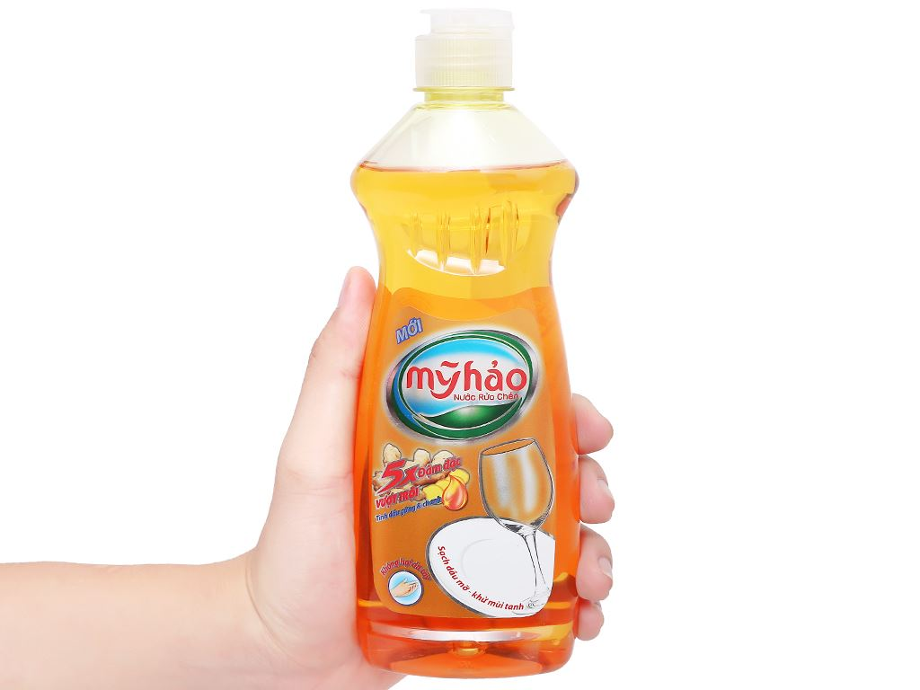 Nước rửa chén Mỹ Hảo 5X đậm đặc tinh dầu gừng & chanh chai 400g 4