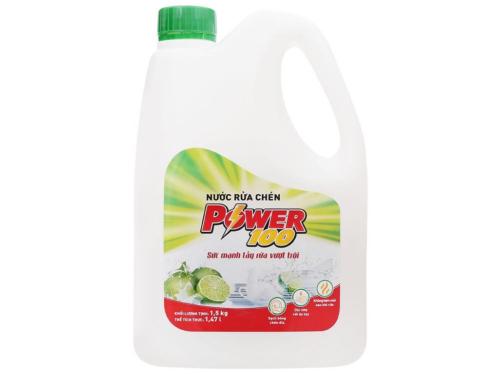 Nước rửa chén POWER100 hương chanh can 1.47 lít 1