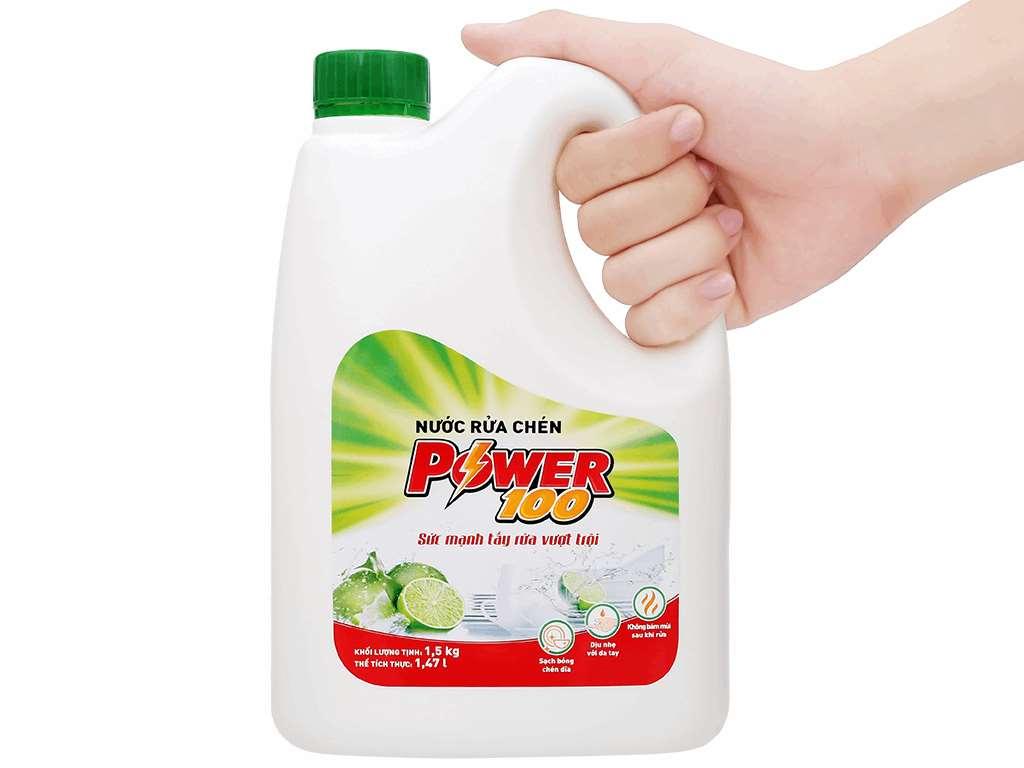 Nước rửa chén POWER100 hương chanh can 1.47 lít 4