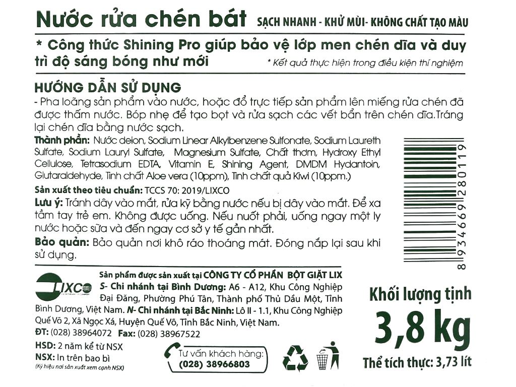 Nước rửa chén On1 hương kiwi và aloe vera can 3.73 lít 3