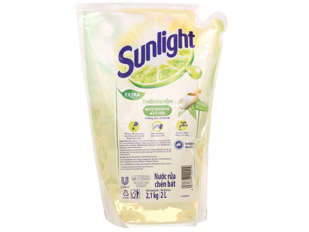 Nước rửa chén Sunlight thiên nhiên muối khoáng và lô hội túi 2.1kg 2