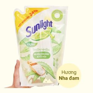 Nước rửa chén Sunlight thiên nhiên muối khoáng và lô hội túi 2 lít