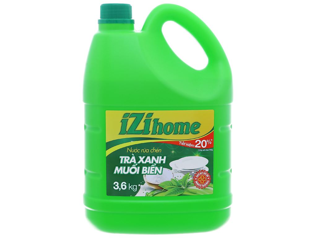 Nước rửa chén IZI HOME hương trà xanh muối biển can 3.6kg 1