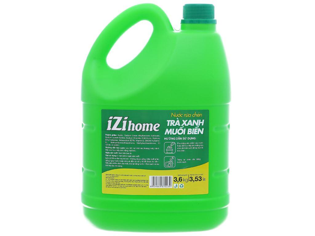 Nước rửa chén IZI HOME hương trà xanh muối biển can 3.6kg 2